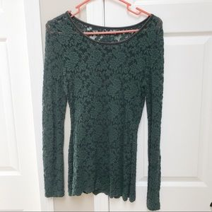 Long sleeve, green lace shirt